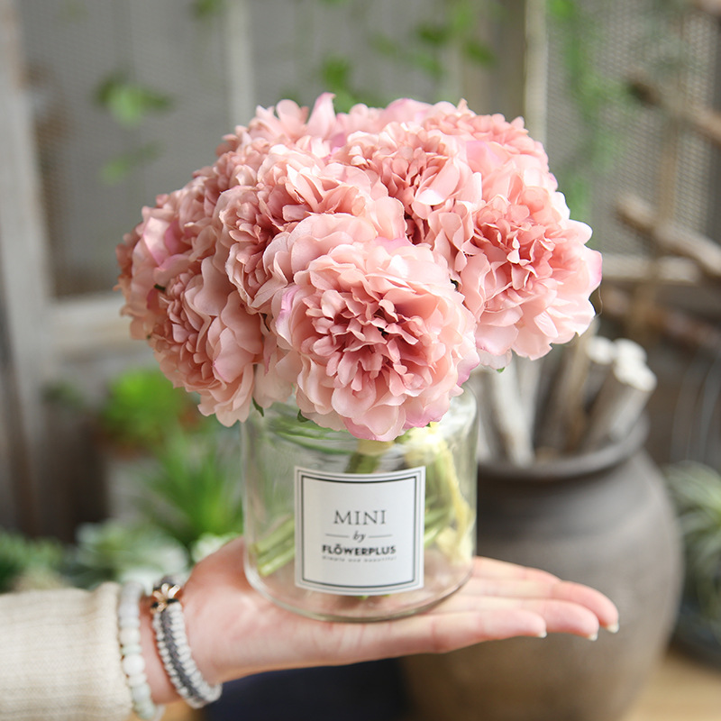 French 1 Bouqeut Artificial Silk Peony Flower Bridal Hydrangea Party Wedding