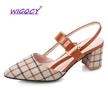 Retro pointed High heels sandals women 2019 summer shoes Fashion shallow Square heel sandals Riband Mixed Colors female shoes цена 2017