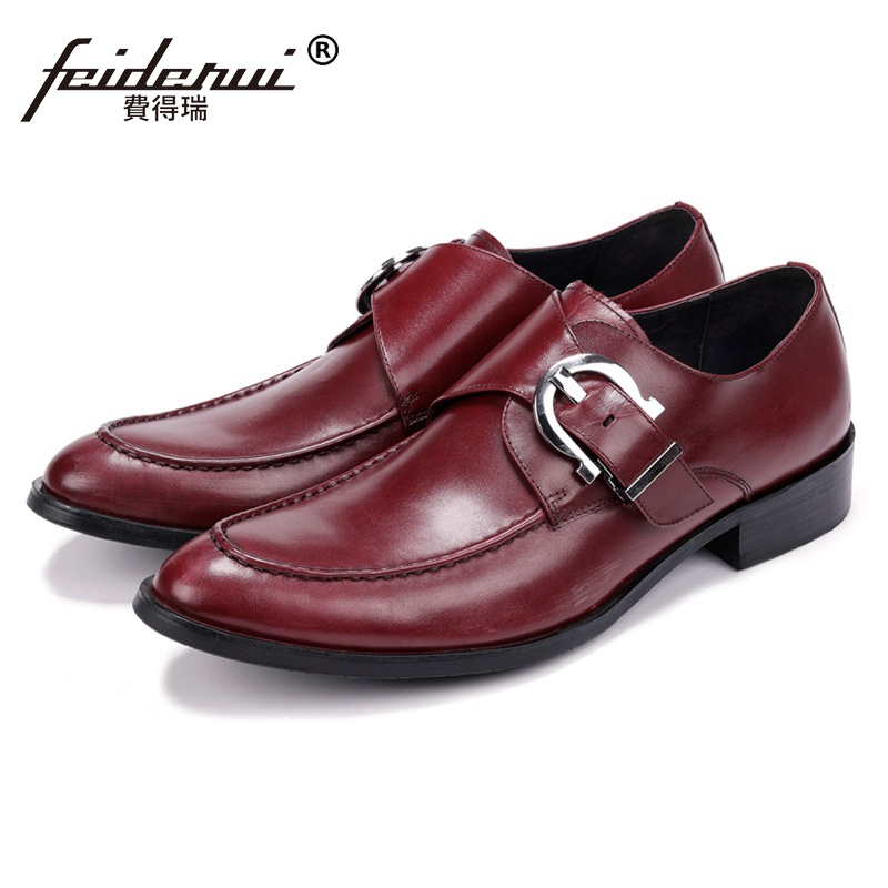 2018 New Vintage Genuine Leather Man Monk Strap Formal Dress Shoes Round Toe Handmade Men's Office Banquet Footwear JS140 luxury snake pattern patent leather men s monk strap formal dress footwear round toe handmade male casual shoes for man ymx411