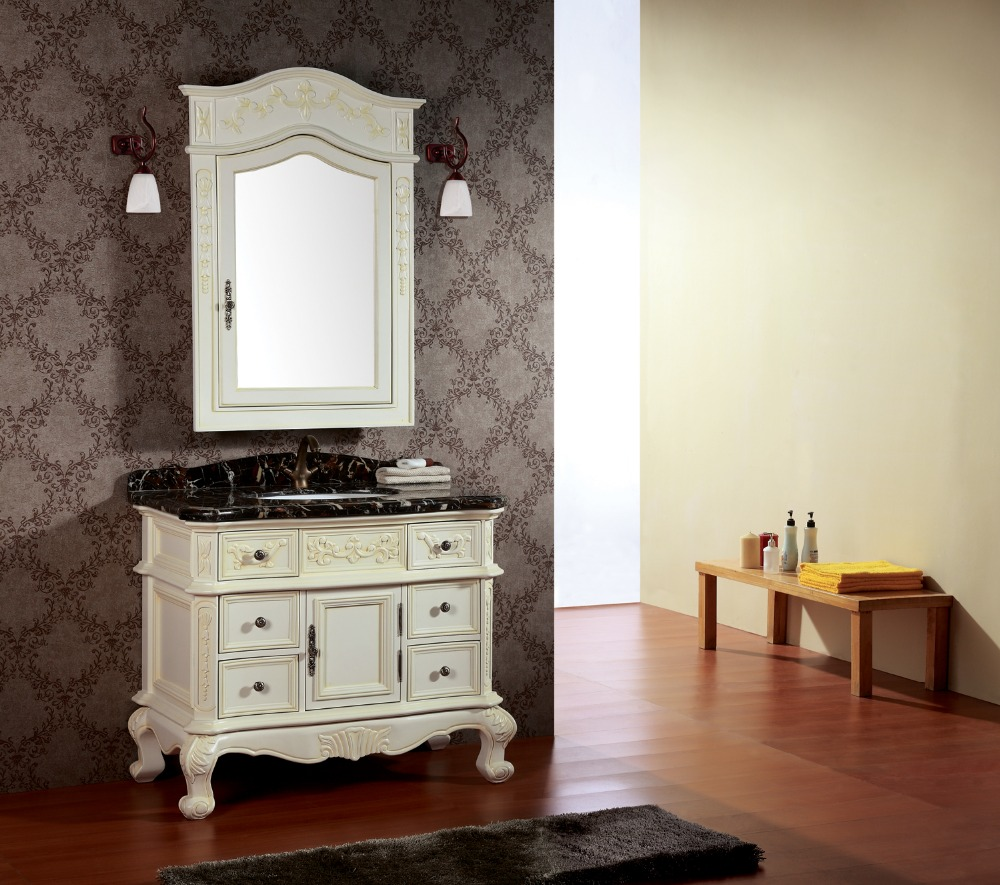 New products bathrooms furniture solid wood white or ivory bathroom ...