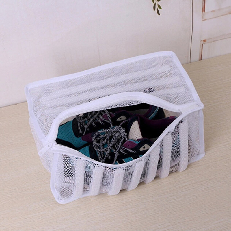 Wash-Bag Padded Shoes Washing-Machine-Shoes Laundry-Net White for Protecting-Trainers title=
