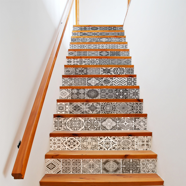 13 Pieces/Set Creative DIY 3D Stairway Stickers Ceramic Tiles Pattern For  House Stairs Decoration