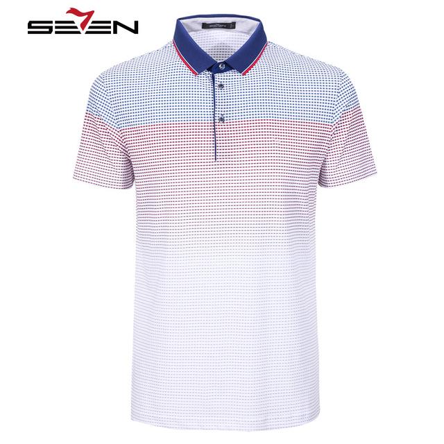 Seven7 hombres slim fit camisas de polo delgada de manga corta a cuadros patrón de gradiente de colores polo camisas de marca camisas de polo ocasional 110t50300