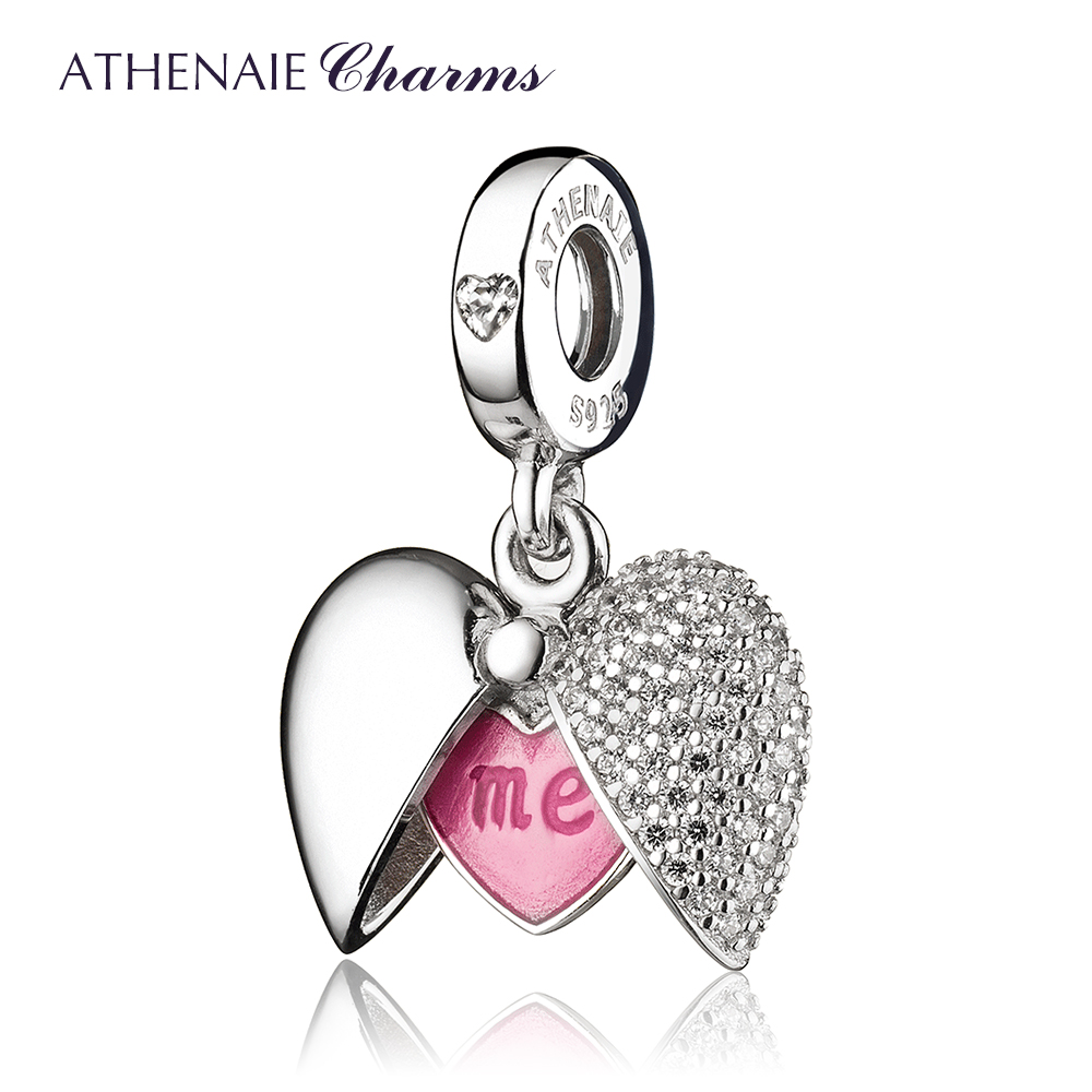ATHENAIE Romantic 925 Sterling Silver Clear CZ You and Me Love Heart Locket Dangle Charm fit Bracelet & Necklaces DIY JewelryATHENAIE Romantic 925 Sterling Silver Clear CZ You and Me Love Heart Locket Dangle Charm fit Bracelet & Necklaces DIY Jewelry