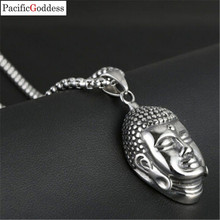 Stainless Steel Fashion Jewelry necklace Buddha head pendant Chain Link Necklace For Women and men astronaut pendant necklace galaxy universe spaceman meditation trinket retro stainless steel chain men necklace