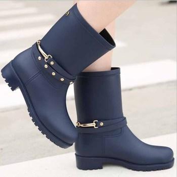 Women Rain Boots Transparent Waterproof Colorful Spring Autumn Shoes Rain Boot Woman Ankle Boots Large size