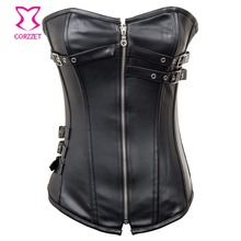 Corzzet Vintage Gothic Brown Leather Zipper Steel Boned Overbust Corset Lace Up Plus Size Waist Trainer Steampunk Clothing