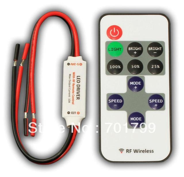 R106-S;Mini led RF dimmer,DC5-24V input,12A/288W output
