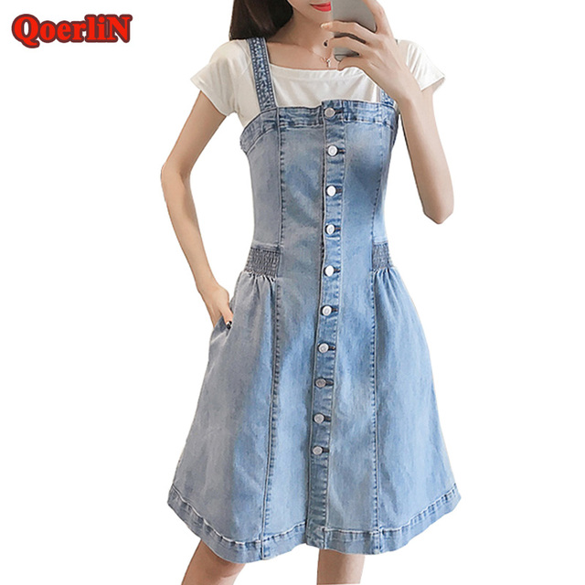 3ea5b2684b3 QoerliN Light Blue Strap Pocket Jeans Romper Dress Girl 2018 New A-Line  Button Elastic Waist Loose Casual Denim Dress Plus Size