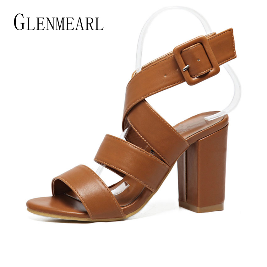 2017 Summer Rome Women High Heel Sandals Shoes Plus Size Thick With Platform Pumps Casual Women's Shoes Ankle Female Sandals 45 xiaying smile summer new woman sandals platform women pumps buckle strap high square heel fashion casual flock lady women shoes