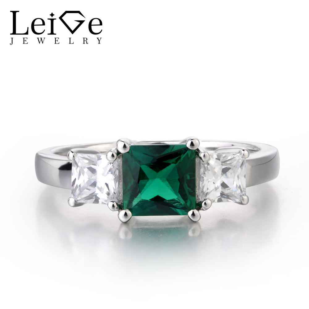 Leige Jewelry Lab Created Emerald Ring Green Gemstone Engagement Anniversary Rings for Women Pricess Cut 925 Sterling Silver цена
