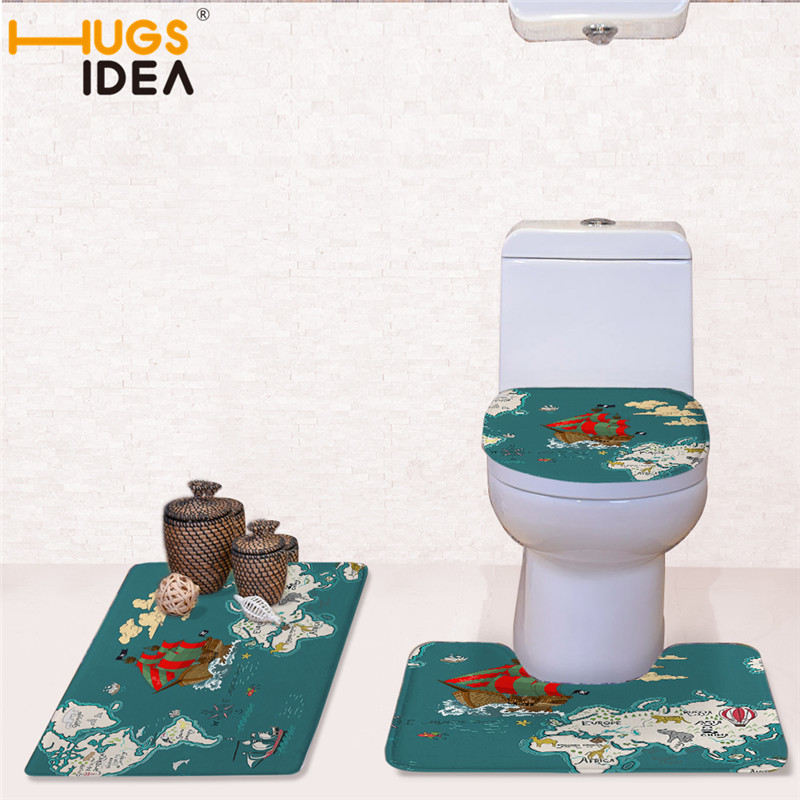 Surprising Us 23 93 37 Off Hugsidea 3Pcs Zoo Map Toilet Seat Cover Rug Bathroom Set World Map Toilet Seat Cover Antislip Mat Christmas Decorations For Home In Squirreltailoven Fun Painted Chair Ideas Images Squirreltailovenorg
