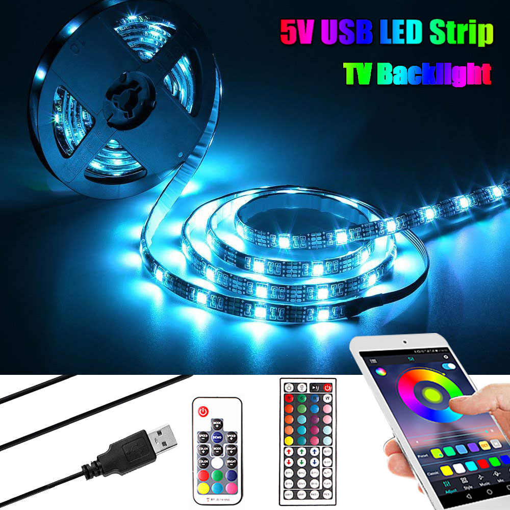 SMD 5050 DC 5V USB LED tira RGB cinta luz de neón TV iluminación trasera PC música/Bluetooth Flexible cinta luminosa LED tira de lámpara