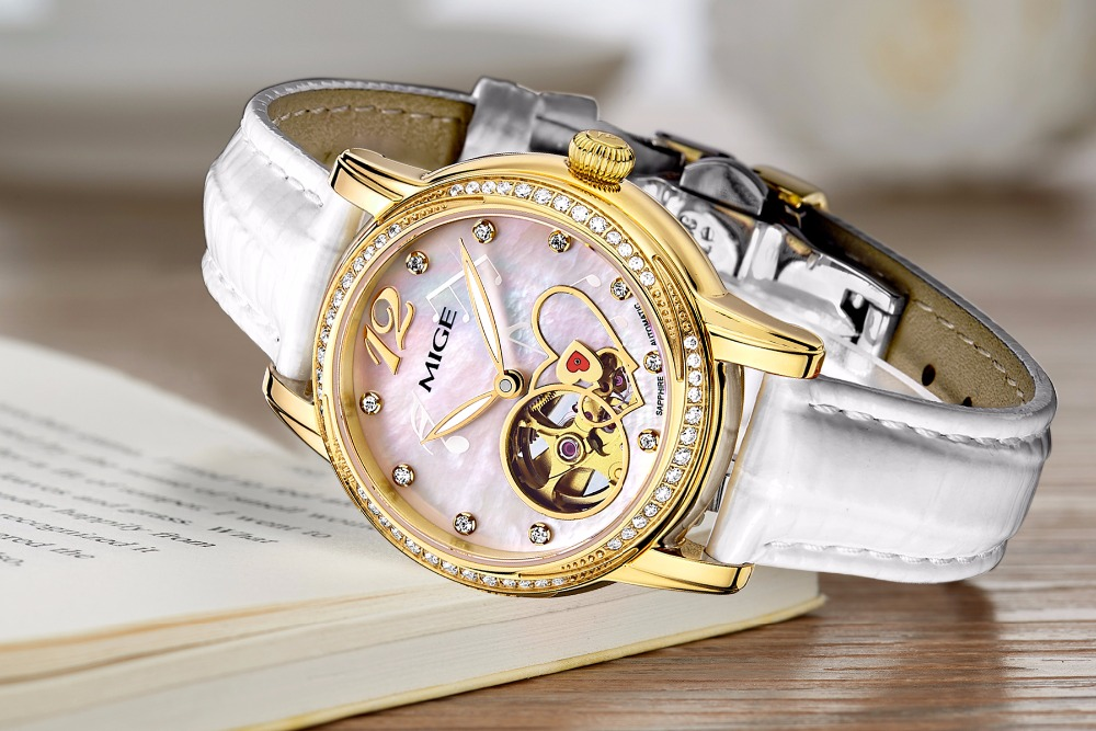 Mige 2018 New Real Mechanical Ladies Watch Fashion White Red Leather Female Clock Waterproof Skeleton Automatic Woman WatchesMige 2018 New Real Mechanical Ladies Watch Fashion White Red Leather Female Clock Waterproof Skeleton Automatic Woman Watches