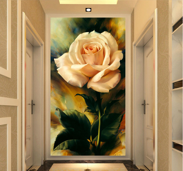 1 pieces rose flowers 3d oil modern home wall art home. Black Bedroom Furniture Sets. Home Design Ideas