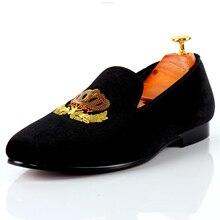 Harpelunde Лоферы черный мотив бархатные Тапочки Высокое качество Повседневная Мужская обувь размеры 7–14