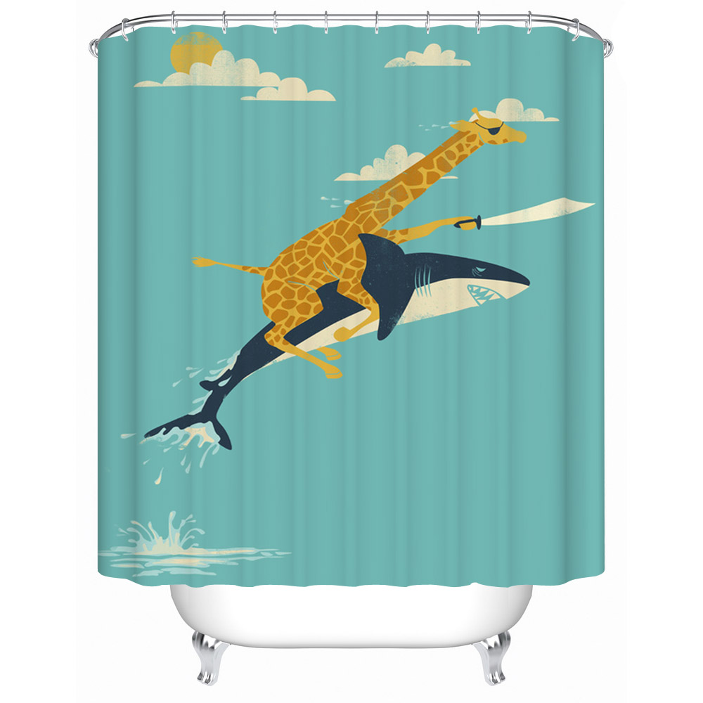 Best gift giraffe riding shark waterproof fabric shower for Shower curtain savers