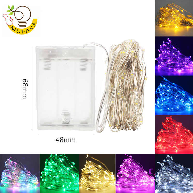 LED String lights 1-10M Silver Wire Battery fairy lights outdoor lamp luces led decoracion Fairy light for Home Party Decoration
