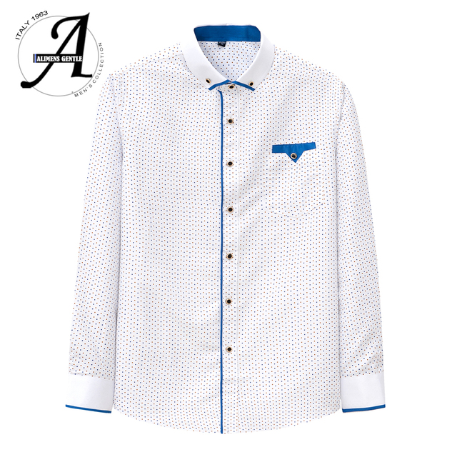 Printed Plaid Polka Dot Men Shirt Long-Sleeved Casual Shirts For Men Slim Fit 21 Colors Male Dress Shirts Camisas Masculina 1