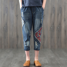 2018 New Elastic Waist Embroidery Jeans Vintage Ripped Holes Woman Fashion Floral Denim Pants Trousers For Women Jeans Plus Size цена 2017