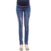 2016 Autumn maternity jeans trousers prop belly pants feet pencil pants hole stretch leggings