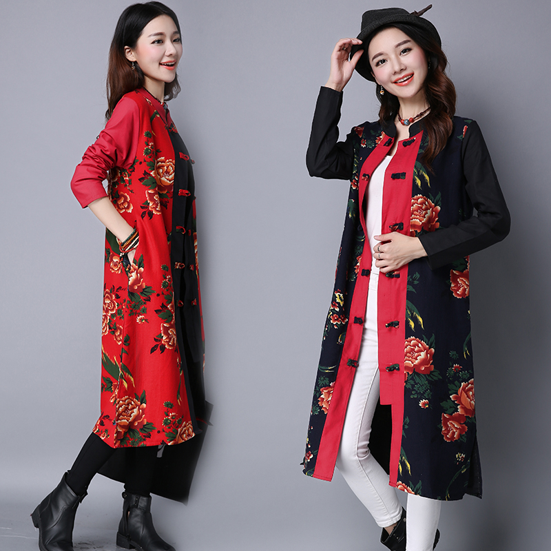 New Vintage Autumn Winter thin Outerwear women Plate Button Cotton Print Patchwork Medium-long Thin Trench Outerwear female