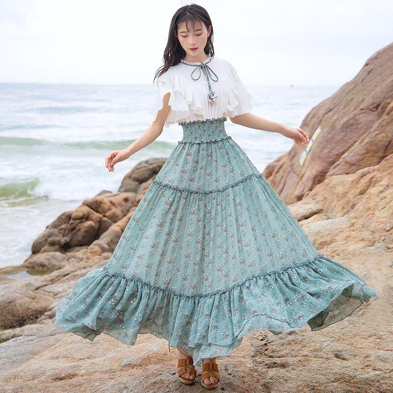 Kadın Giyim'ten Elbiseler'de Ücretsiz Kargo Boshow 2019 Yeni Bohemian Kadınlar Uzun Maxi Kısa Kollu Yaz S L Ruffles Şifon Büyük Hem Çiçek Baskı Elbiseler'da  Grup 3