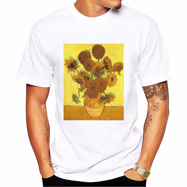 Edvard Munch famous Skrik The Scream men tshirt van Gogh Sunflowers The Starry Night tee shirt homme white casual t shirt