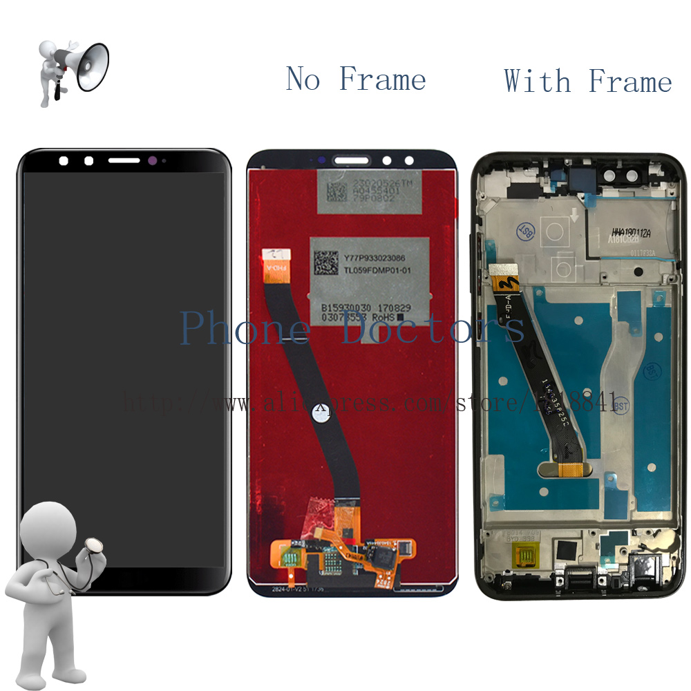 Con el marco para el Honor 9 edición juvenil Full LCD DIsplay + pantalla táctil digitizador asamblea para Huawei Honor 9 Lite LCD + marco