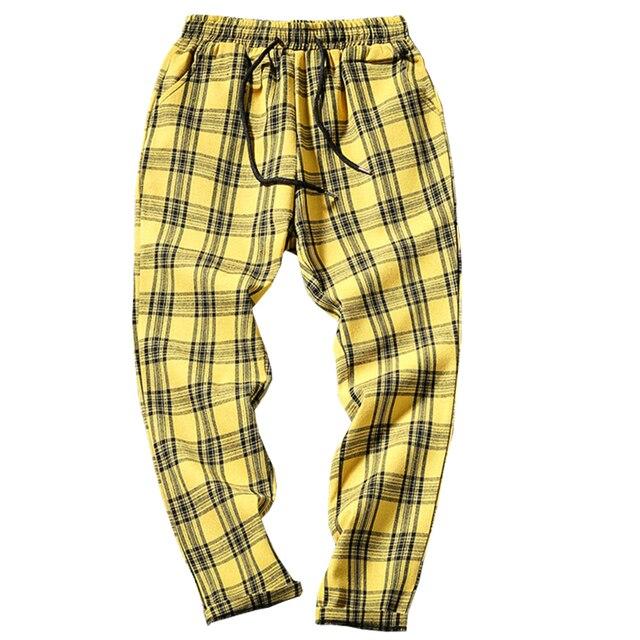 Drop Shipping Autumn Men Plaid Pants Casual Trousers Man Cotton Slim Fit Men Skinny Grid Joggers LBZ09