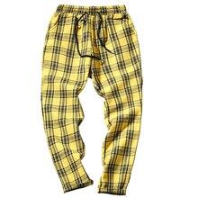 O envio da gota outono calças masculinas xadrez calças casuais homem de algodão fino ajuste magro grid joggers lbz09