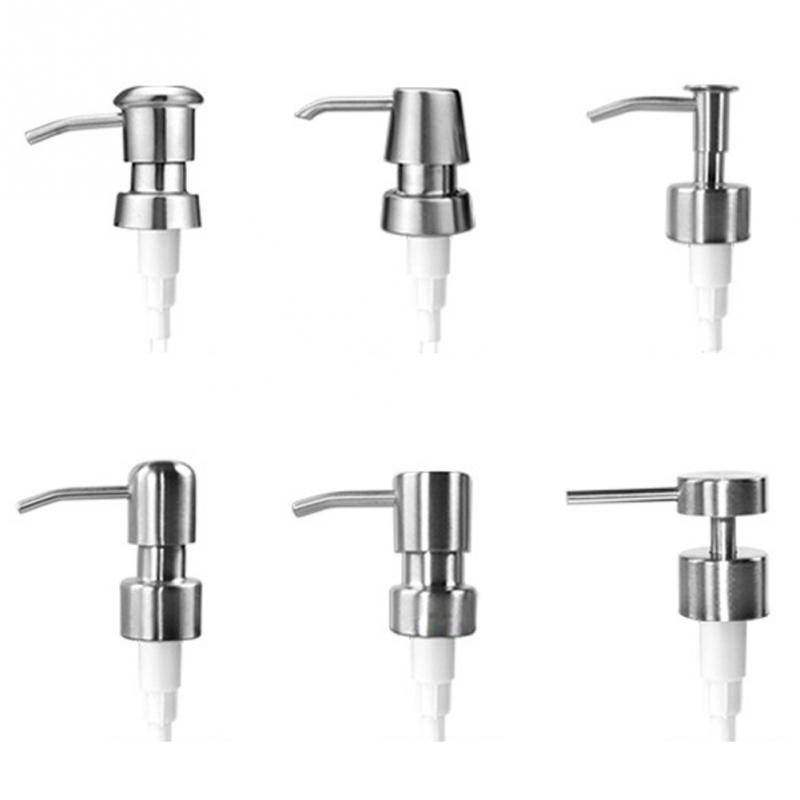 New Pump 6 Types Stainless Steel Soap Pump Liquid Lotion Dispenser Replacement Jar Tube For Bathroom