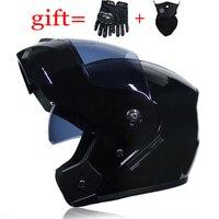 VURTUR DOT Approved Double Lens Flip Up Motorcycle Helmet Casco Racing Capacete With Inner Sun Visor Matte Black