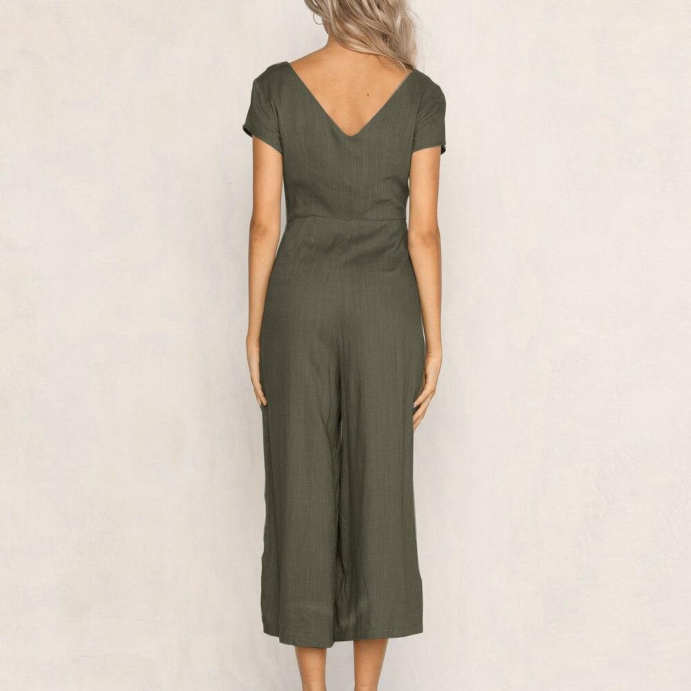 Jumpsuit Summer Women Long V-Neck Short Sleeve Wide Leg Strappy Holiday Long Playsuits Trouser Jumpsuit 2018 Jumpsuit F#J06 (11)