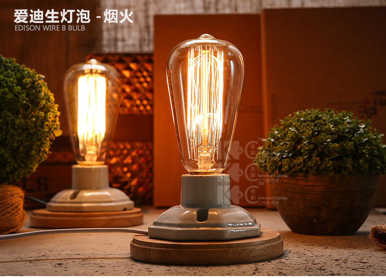 Kiven vintage industrial table lamp edison bulb ceramic wood table kiven vintage industrial table lamp edison bulb ceramic wood table bedside lamp nightstand desk light dimmable switch abajur in table lamps from lights greentooth Choice Image