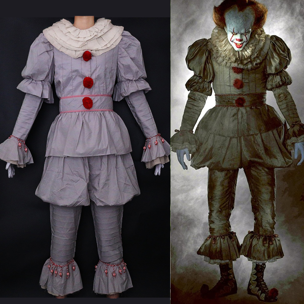 Halloween Group Costumes Scary.Us 50 56 36 Off 2018 Halloween Costume Movie Stephen King S It Pennywise Cosplay Costume Scary Joker Suit Fancy Masquerade Party Prop In Movie Tv