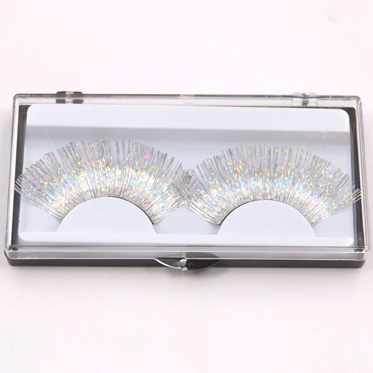 1 Pair Laser Gold Silver Line False Eyelashes White Thick Long Eyelashes Stage Makeup Series Exaggerated Eyelash Makeup Art