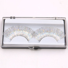 1 Pair Laser Gold Silver Line False Eyelashes White Thick Long Stage Makeup Series Exaggerated Eyelash Art