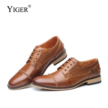 YIGER New man formal shoes business lace-up casual Men dress handmade big size  genuine leather male 296A