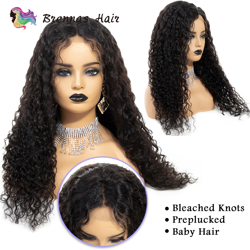 Pre plucked jerry curly lace front wig with baby hair Medium brown lace wig cap Brazilian