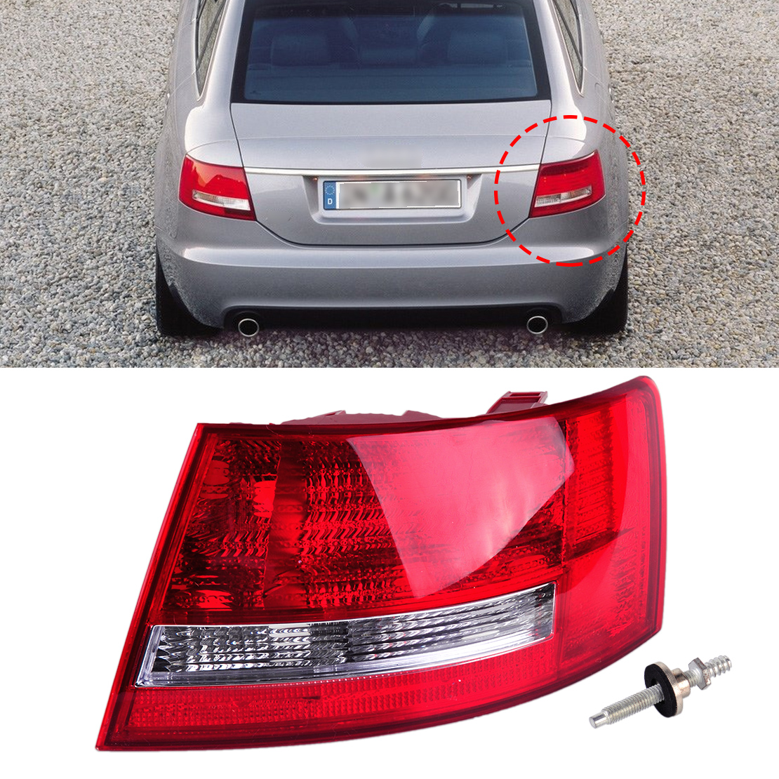 DWCX Rear Right Light Assembly Lamp Housing without Bulb 4F5 945 096 L 4F5 945 096 D for Audi A6 /A6 Quattro Sedan 2005 2006 -08 free shipping for skoda octavia sedan a5 2005 2006 2007 2008 right side rear lamp tail light