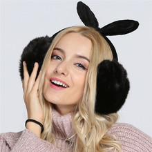 Women Winter Warmer Soft Rabbit Fur Earmuffs Cute Bowknot Earlaps Earmuffs