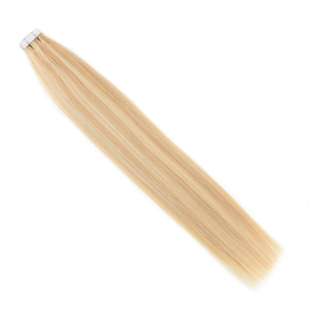 Moresoo человеческие волосы для наращивания лента в волосах подчеркивает цвет бразильские натуральные волосы с неповрежденной кутикулой для наращивания #16 изюминка с блондином - 3