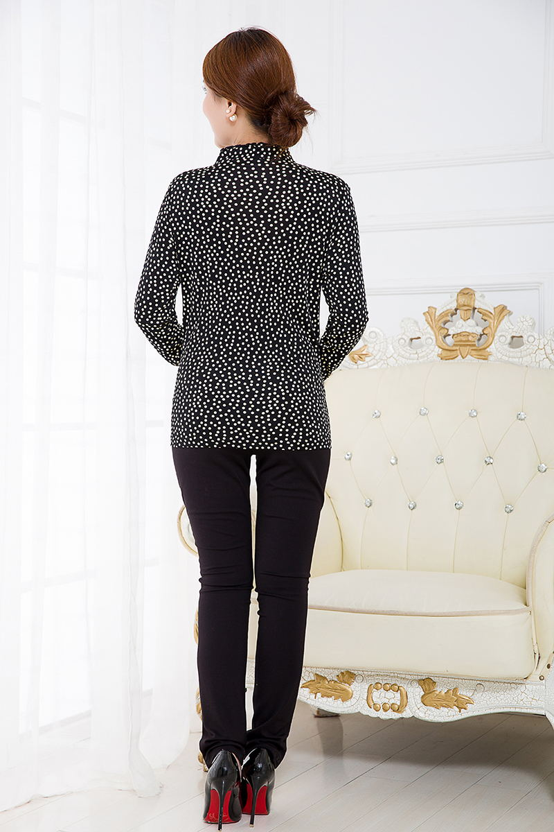 Новое поступление чистый шелк вязаный гофрированный круглый вырез Футболка женская, 100% шелк модный длинный рукав принт Женская футболка - 2