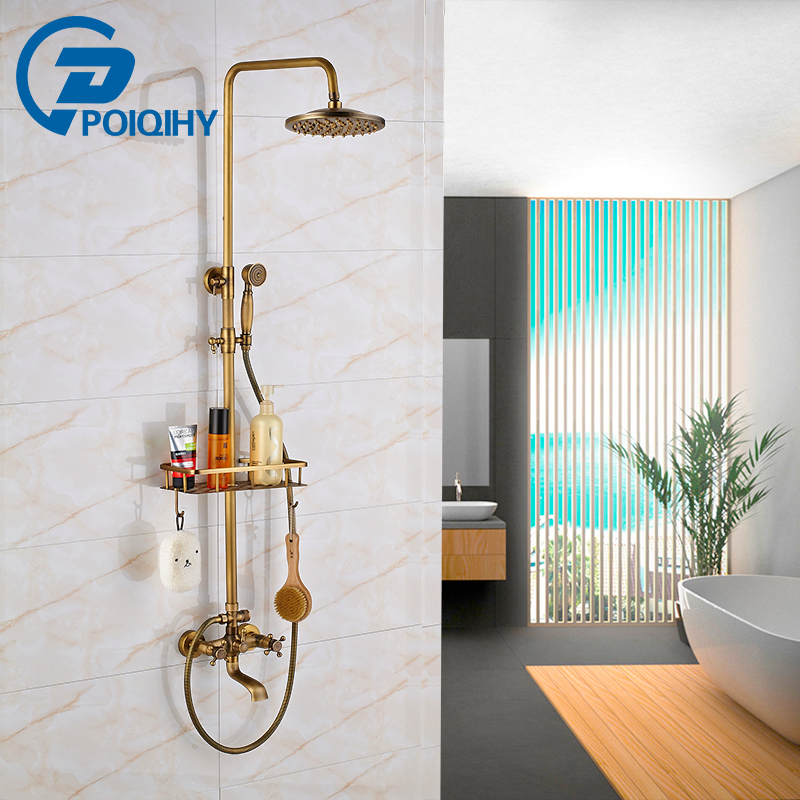 POIQIHY 8 Rainfall Shower Set Faucet Antique Brass Dual Handle with Commodity Shelf Wall Mounted Bathroom Shower Mixers автомобильный держатель wiiix kds wiiix 01t для планшетов черный