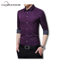 2017 Purple Long Sleeve Dress Shirts Printed Fsahion Men Shirts Full Cool Vacation Self Cultivation Vacation