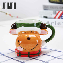 JOUDOO 350ML Cartoon Christmas Mugs Elk Snowman Ceramic Mug Handgrip Tea Coffee Cups and Large Capacity Water Bottle 35