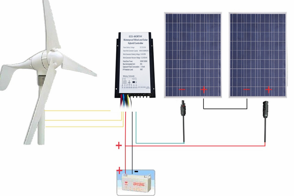 USA Stock 24V 600W/H Hybrid System Kit 400W Wind Turbine Generator  200W PV Solar Panel