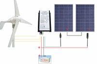 USA Stock 24V 600W/H Hybrid System Kit 400W Wind Turbine Generator 200W PV Solar Panel