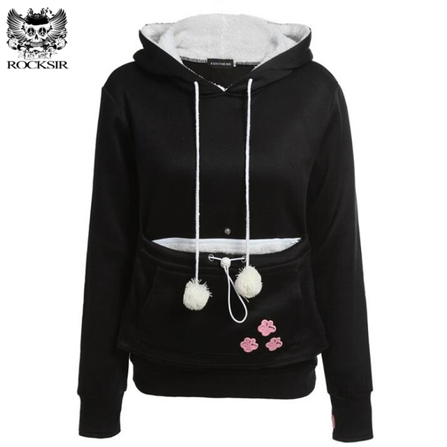 Rocksir Animal Lovers Kangaroo Hoodies Women Kawaii Cat Ears Fleece Hooded Sweatshirt Cuddle Pouch Dog Casual Pullovers Outwears